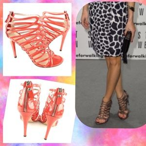 Stuart Weitzman coral Loops Patent Strappy Sandal